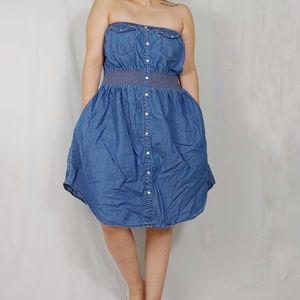 American Rag Cie Denim Chambray Strapless Dress